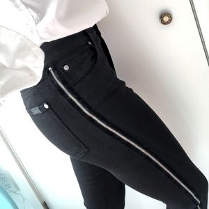 7 For All Mankind Black Coated Denim with Zipper